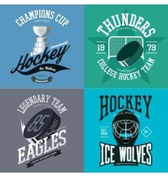 Hockey logo set with puck and crest stick trophy vector