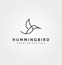 hummingbird logo line art minimalist design vector image