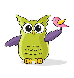icon of cute green owl with bird vector image
