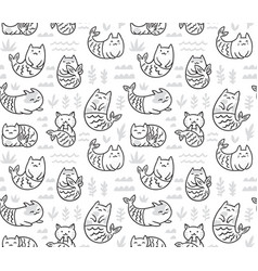 ink seamless pattern with cute cats mermaids in vector image