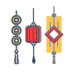 Japanese lantern and mascots for luck and vector