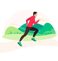 Jogging and running man runner in motion vector