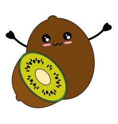 Kiwi delicious fruit cute kawaii cartoon vector