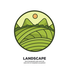 landscape scenery design with green fields and vector image