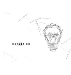 Light bulb background with lines and dots vector