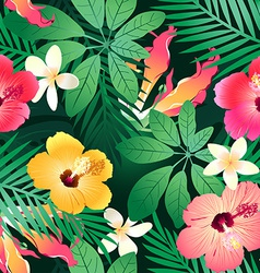 Lush tropical flowers vector image
