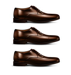 Man shoes realistic icon set vector
