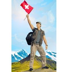 Man tourist standing on mountain vector