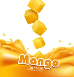 mango slices falling into fresh juice isolated vector image