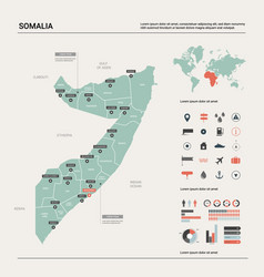 Map somalia country map with division cities vector