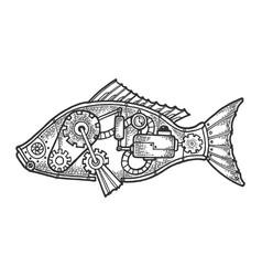 Mechanical fish animal sketch engraving vector