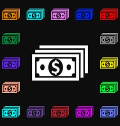 money dollar icon sign Lots of colorful symbols vector image