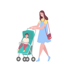 Mother and baby woman with perambulator walking vector