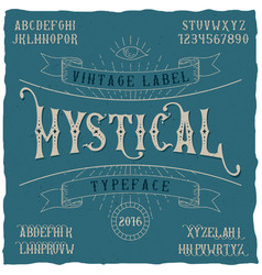 Mystical label typeface poster vector