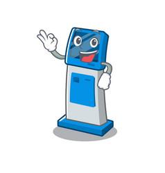 Okay information digital kiosk with in cartoon vector