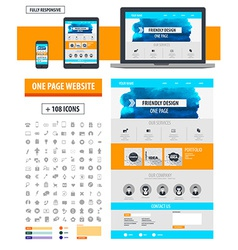 One page website template vector image