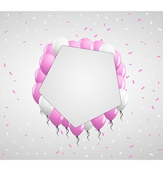 Pentagon badge and pink balloons vector