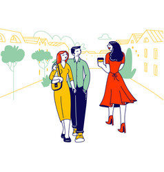 Perfidious man walking with girlfriend looking on vector