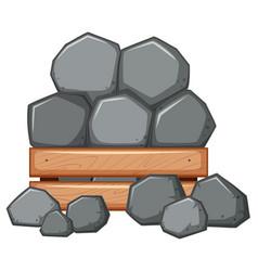 Pile of rock in wooden box vector