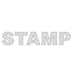 polygonal wire frame stamp text caption vector image