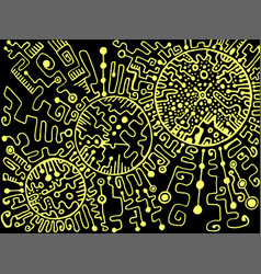 psychedelic space cyberpunk style yellow outline vector image