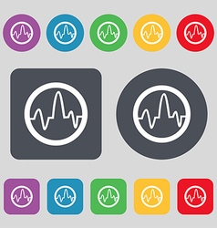 pulse Icon sign A set of 12 colored buttons Flat vector image