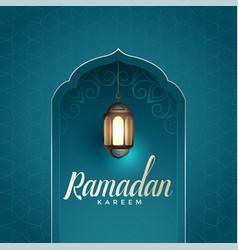 Ramadan kareem awesome design with hanging lamp vector