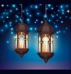 Ramadan lanterns night composition vector