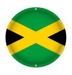 round metallic flag of jamaica with screws vector image