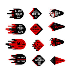 Sale sticker set with hand drawn elements in red vector