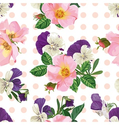 Seamless pattern bouquet of roses and forget me vector