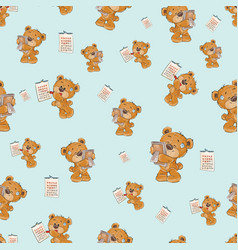 seamless pattern with a cute brown teddy vector image