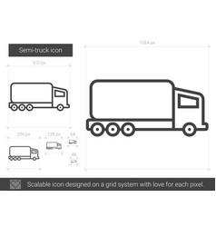 Semi-truck line icon vector