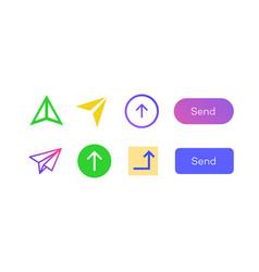 send icon arrow set color style vector image