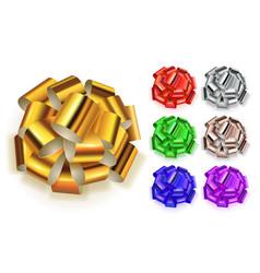 set big bows shiny ribbons vector image