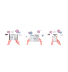 set hands using l gadgets reading daily news vector image