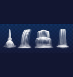 set isolated realistic cascade waterfall vector image