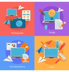 Set Of Flat Square Design Concept Icons vector image