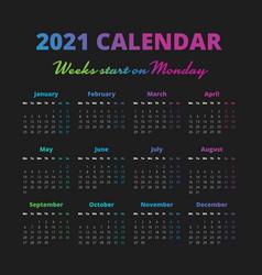 Simple 2021 year calendar weeks start on monday vector