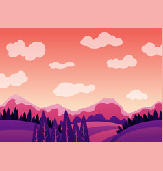 summer evening landscape with mountains vector image