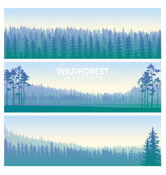 the blue wildforest landscape set vector image