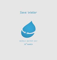 Water drop with human hand logo design vector