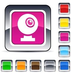webcam square button vector image vector image