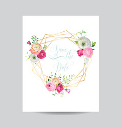 wedding invitation floral template save date vector image