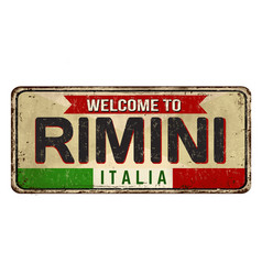 welcome to rimini vintage rusty metal sign vector image