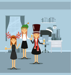 women in dresses celebrating christmas with vector image