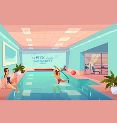 Women in swimming pool relaxing aqua aerobics vector