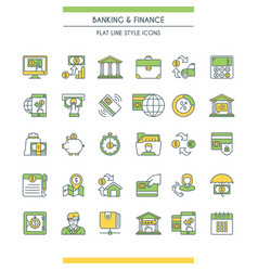 Banking and finance icons set vector