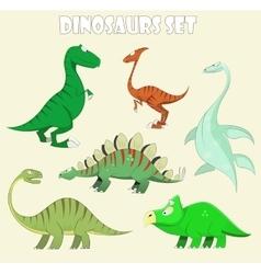 Cartoon dinosaur collection vector image