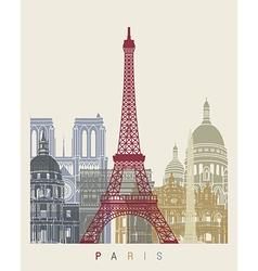 Paris skyline poster vector image vector image